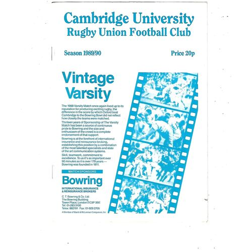 1989/90 Cambridge University v Royal AIr Force (24/01/1990) Rugby Union Programme