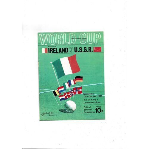 1972 Republic of Ireland v Russia Football Programme