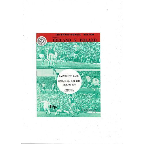 1973 Republic of Ireland v Poland Football Programme