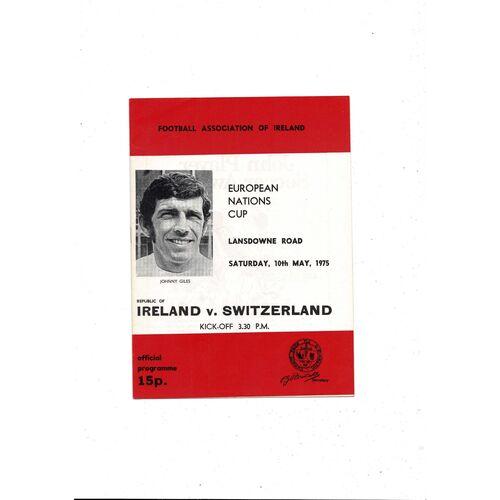 1975 Republic of Ireland v Switzerland Football Programme