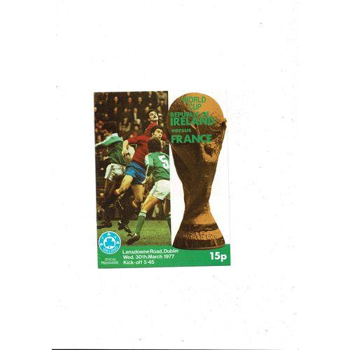 1977 Republic of Ireland v France Football Programme