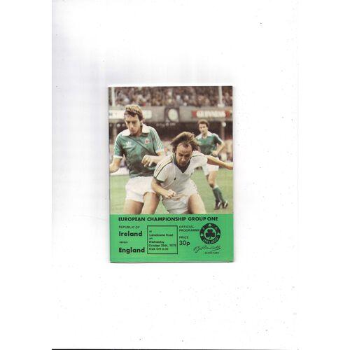 1978 Republic of Ireland v England Football Programme