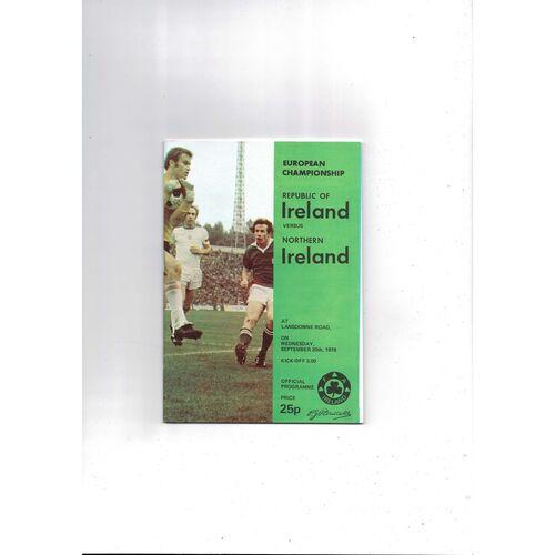 1978 Republic of Ireland v Northern Ireland Football Programme