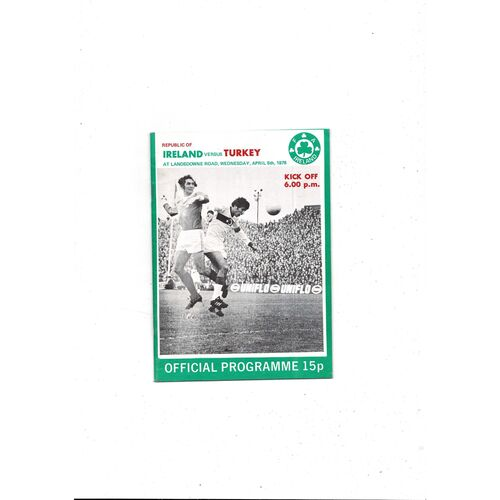 1978 Republic of Ireland v Turkey Football Programme