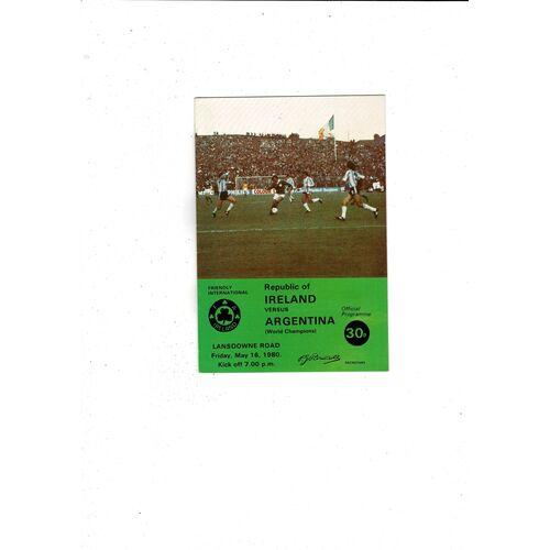 1980 Republic of Ireland v Argentina Football Programme