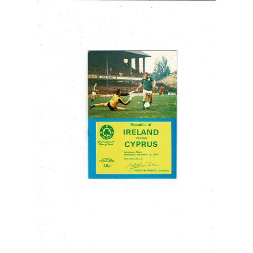 1980 Republic of Ireland v Cyprus Football Programme