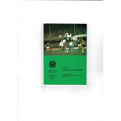 1980 Republic of Ireland v Holland Football Programme