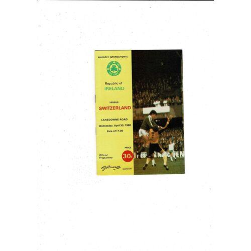 1980 Republic of Ireland v Switzerland Football Programme