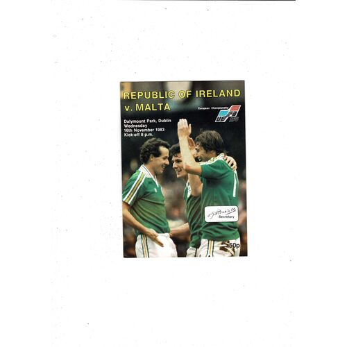 1983 Republic of Ireland v Malta Football Programme