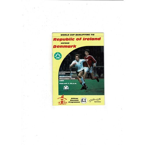 1985 Republic of Ireland v Denmark Football Programme