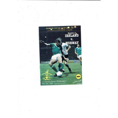 1985 Republic of Ireland v Norway Football Programme