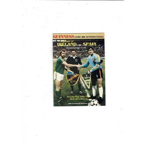 1985 Republic of Ireland v Spain Football Programme