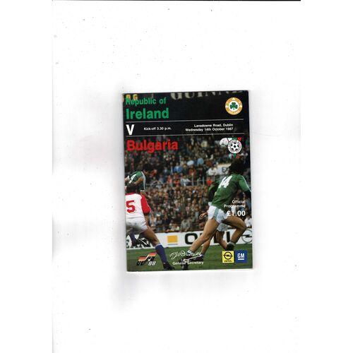 1987 Republic of Ireland v Bulgaria Football Programme
