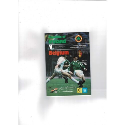 1987 Republic of Ireland v Belgium Football Programme