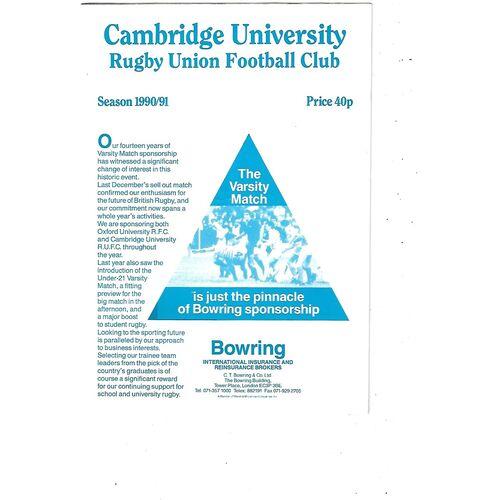 1990/91 Cambridge University v Bradford & Bingley (02/03/1991) Rugby Union Programme