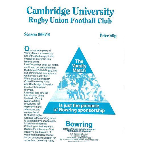 1990/91 Cambridge University v Durham University (19/01/1991) Rugby Union Programme