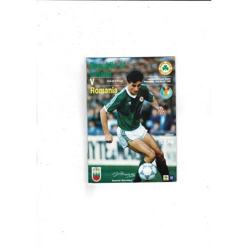 1988 Republic of Ireland v Romania Football Programme