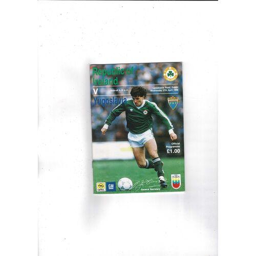 1988 Republic of Ireland v Yugoslavia Football Programme