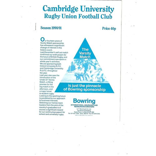 1990/91 Cambridge University v Eastern Counties (27/01/1991) Centenary Game Rugby Union Programme