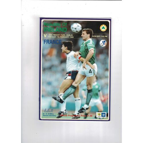 1989 Republic of Ireland v France Football Programme