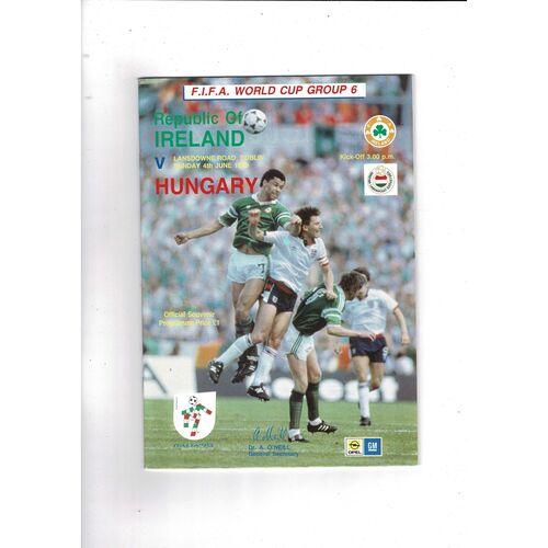1989 Republic of Ireland v Hungary Football Programme