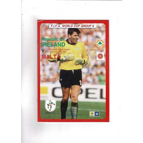 1989 Republic of Ireland v Malta Football Programme
