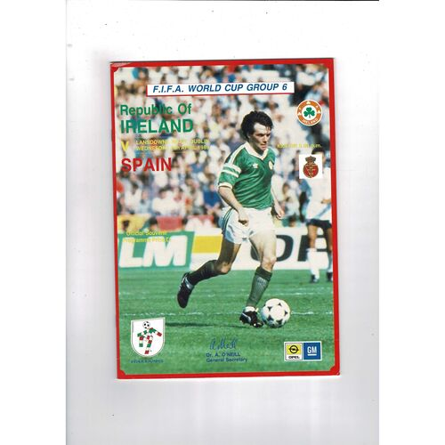 1989 Republic of Ireland v Spain Football Programme