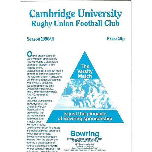 1990/91 Cambridge University v Nottingham (17/11/1990) Rugby Union Programme