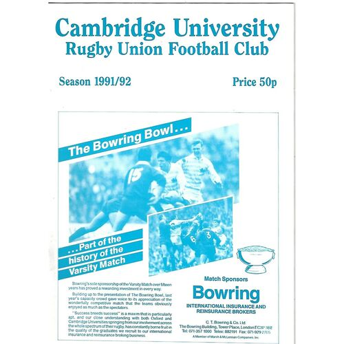 1991/92 Cambridge University v Anti-Assasins (04/03/1992) Rugby Union Programme