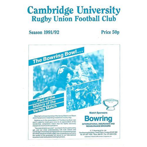 1991/92 Cambridge University v Crawshay's XV (28/09/1991) Rugby Union Programme
