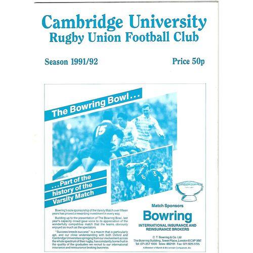 1991/92 Cambridge University v Northampton (09/11/1991) Rugby Union Programme