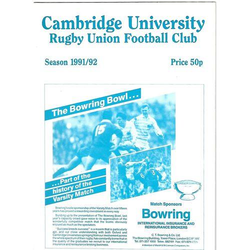 1991/92 Cambridge University v Waseda University (29/02/1992) Rugby Union Programme
