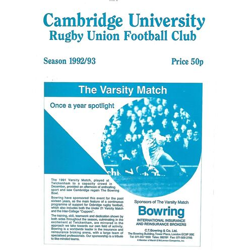 1992/93 Cambridge University v Askeans ((06/02/1993) Rugby Union Programme