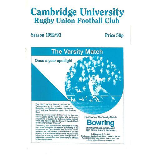 1992/93 Cambridge University v Bradford & Bingley (06/03/1993) Rugby Union Programme