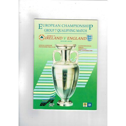 1990 Republic of Ireland v England Football Programme