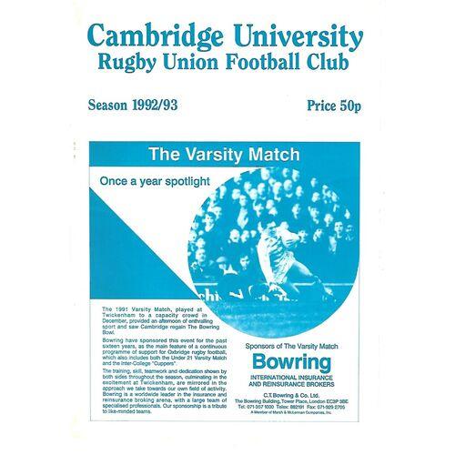 1992/93 Cambridge University v Crawshay's XV (10/11/1992) Rugby Union Programme