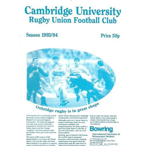 1993/94 Cambridge University v Harlequins (06/11/1993) Rugby Union Programme