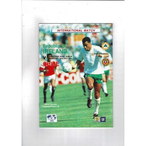 1991 Republic of Ireland v Chile Football Programme