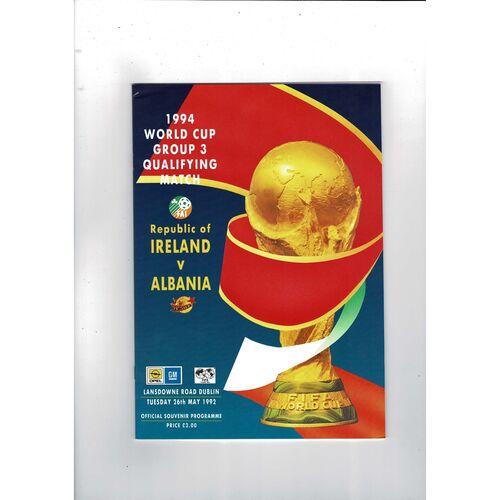1992 Republic of Ireland v Albania Football Programme