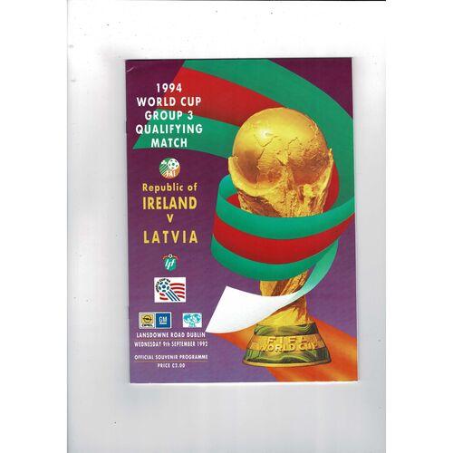 1992 Republic of Ireland v Latvia Football Programme