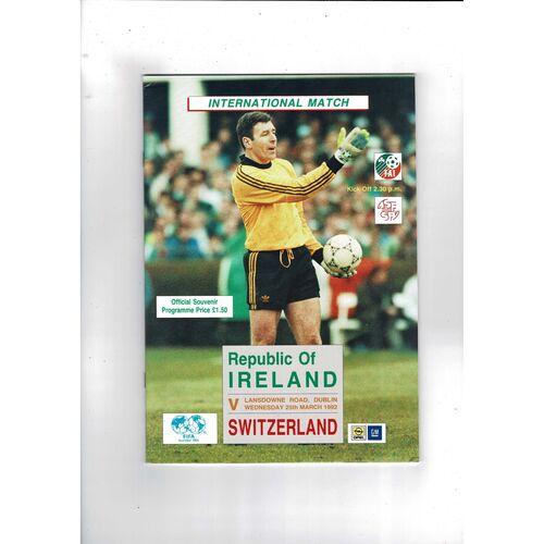 1992 Republic of Ireland v Switzerland Football Programme