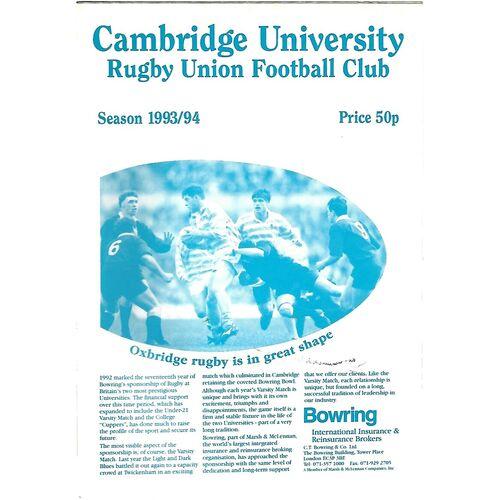 1993/94 Cambridge University v University of Orange Free State Tour Match Rugby Union Programme & Souvenir Tour Brochure