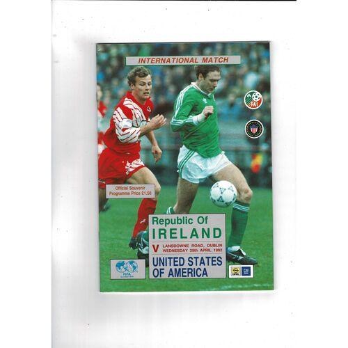 1992 Republic of Ireland v USA Football Programme