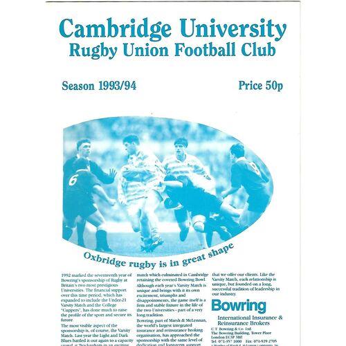 1993/94 Cambridge University v Royal Navy (26/01/1994) Rugby Union Programme