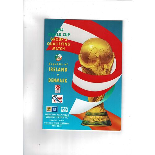 1993 Republic of Ireland v Denmark Football Programme