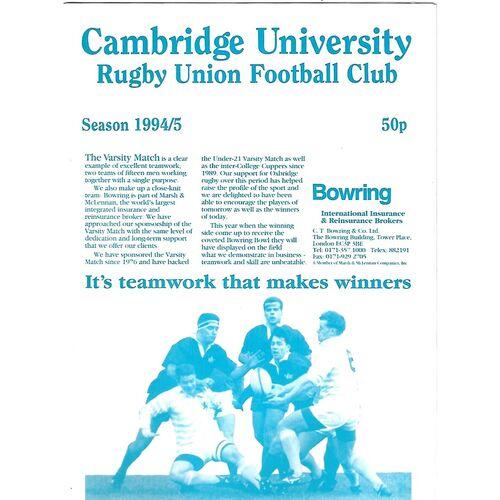 1994/95 Cambridge University v Cardiff (08/12/1994) Rugby Union Programme