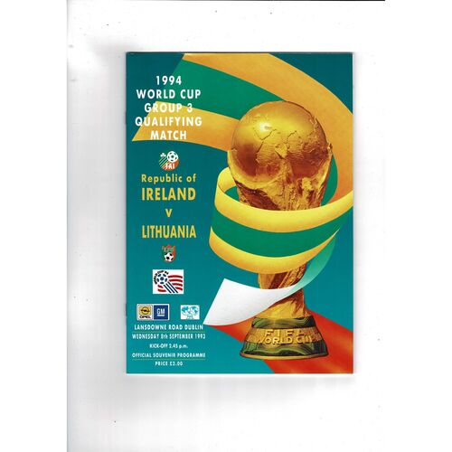 1993 Republic of Ireland v Lithuania Football Programme