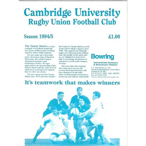 1994/95 Cambridge University v Crayshay's XV (04/11/1994) Rugby Union Programme