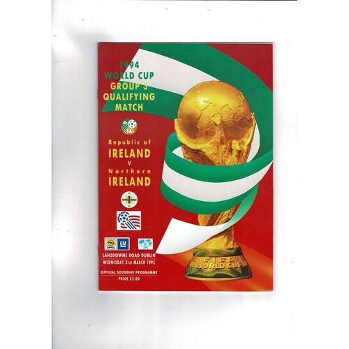1993 Republic of Ireland v Northern Ireland Football Programme