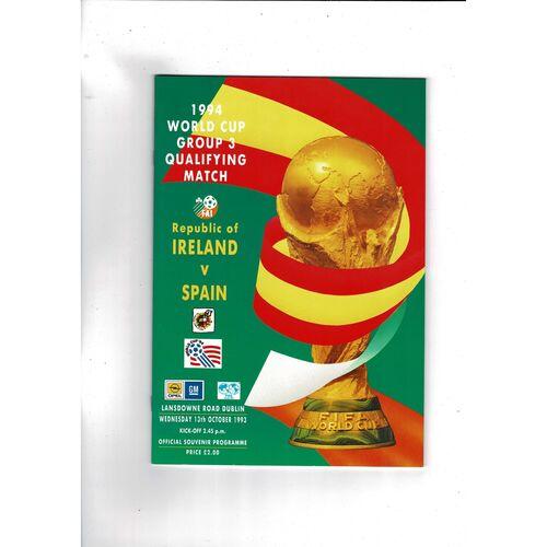 1993 Republic of Ireland v Spain Football Programme